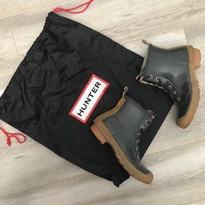 "HUNTER •  ""Brixton"" Duck Boot Rain Combat Boots"